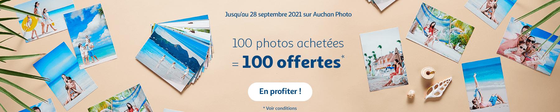 100 photos achetées égale 100 offertes sur Auchan photo
