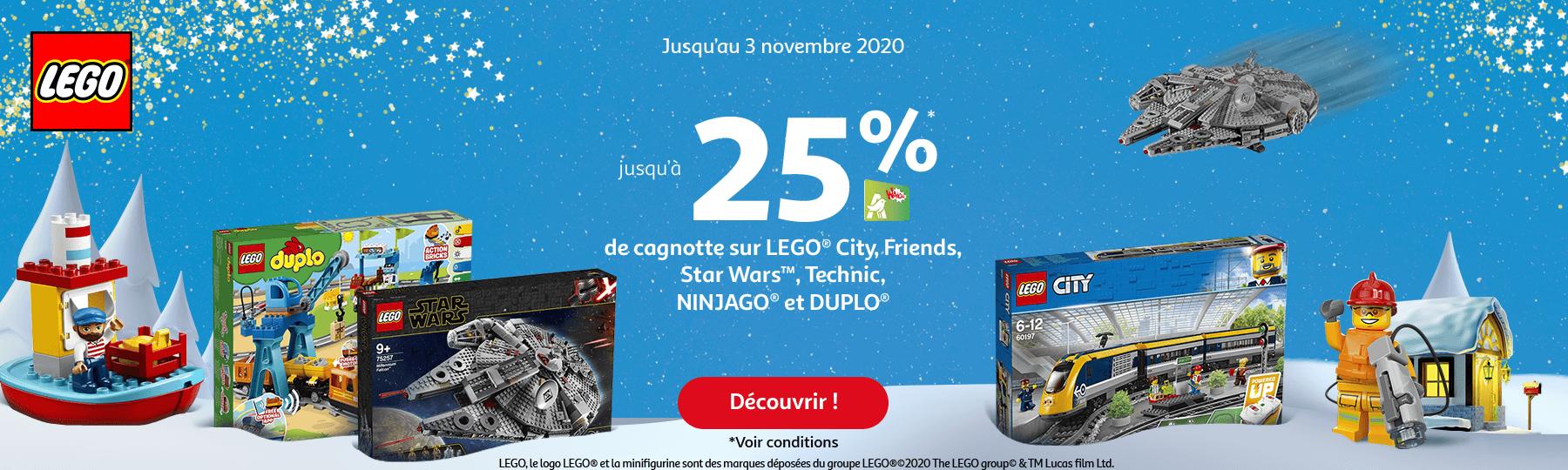 Jusqu'au 3 novembre 2020, jusqu'à 25% de cagnottes sur LEGO City, friends, Star Was, Technic, Ninjago et Duplo