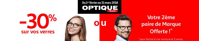 Jusqu'au 31 mars 2018 : -30% sur vos verres ou Votre 2ème paire de marque Offerte