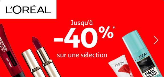 Jusqu'à -40% sur une sélection L'Oréal