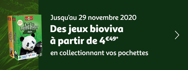 jusqu'au 29 novembre 2020, des jeux bioviva à partir de 4€49 en collectionnant vos pochettes