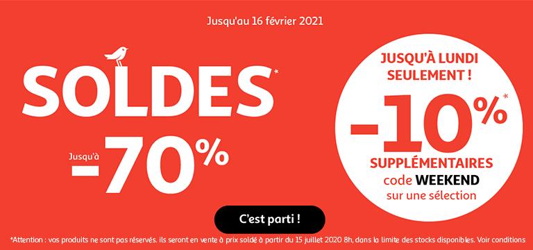 Soldes jusqu'au 16 février 2021, jusqu'à -70% et -10% supplémentaires sur une sélection avec le code WEEKEND