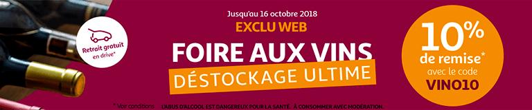 Jusqu'au 16 octobre : Foire aux Vins, déstockage ultime - 10%* de remise avec le code VINO10