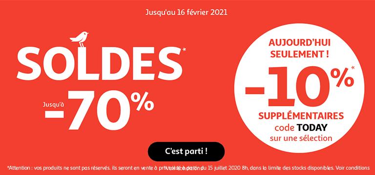 Soldes jusqu'au 16 février 2021, et aujourd'hui seulement ! -10% supplémentaires sur une sélection avec le code TODAY