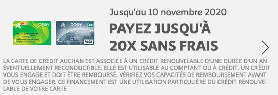 jusqu'au 10 novembre 2020, payez jusqu'à 20 fois sans frais