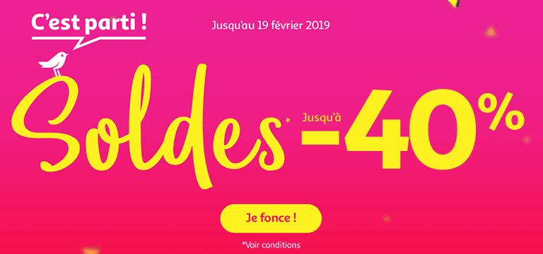 Du 09 janvier au 19 février 2019 : Soldes jusqu'à -40%