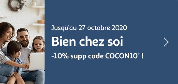 Bien chez soi, -10% supplémentaire avec le code COCON10, jusqu'au 27 octobre 2020