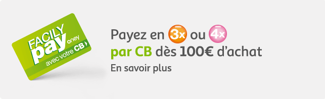 Réglez en 3 ou 4 fois par CB dès 100€ d'achat