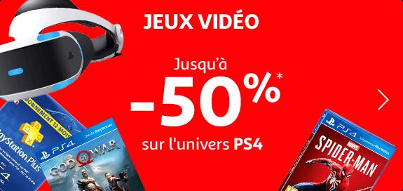 Jusqu'à -50% sur l'univers PS4