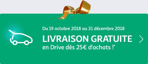 Livraison gratuite en Drive dès 25€ d'achat : cliquez pour en savoir plus