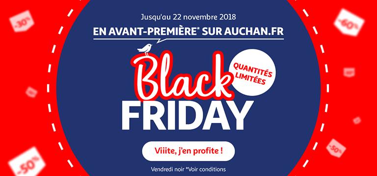 Jusqu'au 22 novembre : Black Friday en avant-première* sur auchan.fr