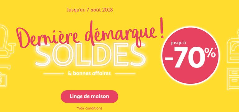 Du 17/07 au 30/07/2018, Soldes jusqu'à -70% en linge de maison