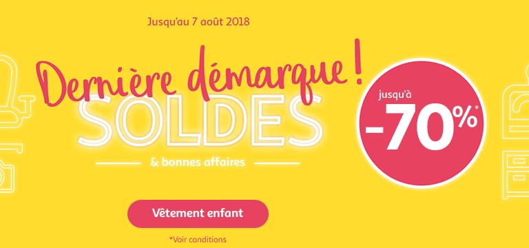 Du 17/07 au 30/07/2018, Soldes jusqu'à -70% en vêtement enfant
