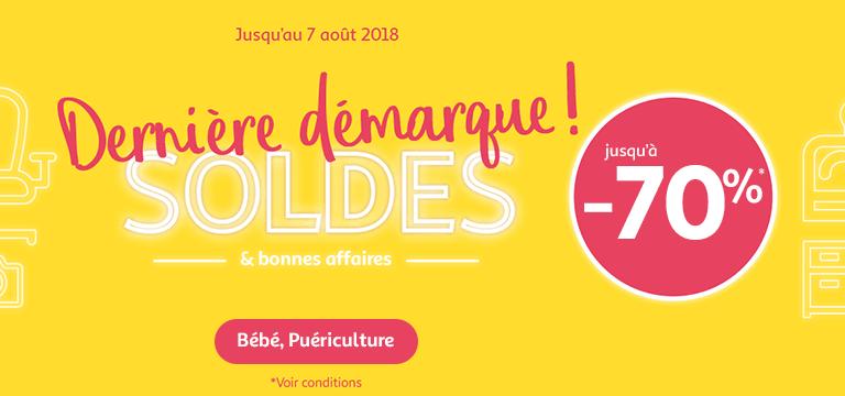 Du 17/07 au 30/07/2018, Soldes jusqu'à -70% en bébé & puériculture
