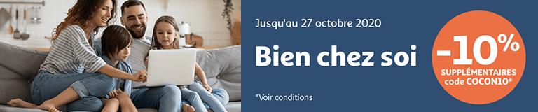 Bien chez soi ! -10% supplémentaires avec le code COCON10, jusqu'au 27 octobre 2020.