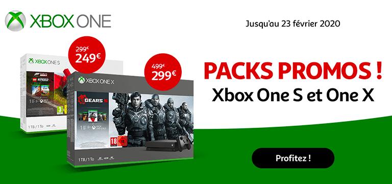 Jusqu'au 23 février 2020 profitez de promotions sur les packs Xbox One S et One X