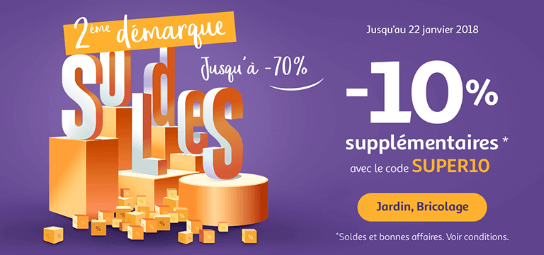 Jusqu'au 22 janvier 2018, -10% supplémentaires avec le code SUPER10