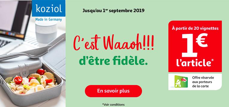 Jusqu'au 1 septembre 2019 : collectionnez les produits Koziol avec votre carte Waooh