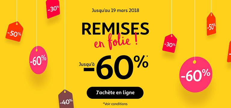 Jusqu'au 19 mars 2018, remises en folie jusqu'à -60%