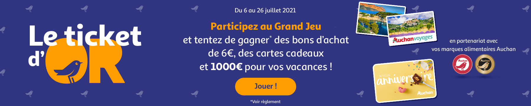 Tentez de gagner des bon d'achats de 6€, des cartes cadeaux et 1000€ pour vos vacances