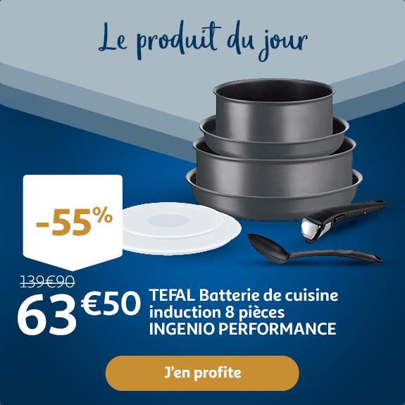 TEFAL Batterie de cuisine induction 8 pièces : 63,50€
