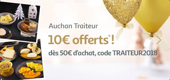 Auchan traiteur : 10€ offert dès 50€ d'achat !