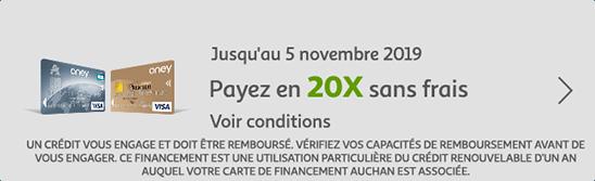 Jusqu'au 5 novembre 2019, payez en 20X sans frais