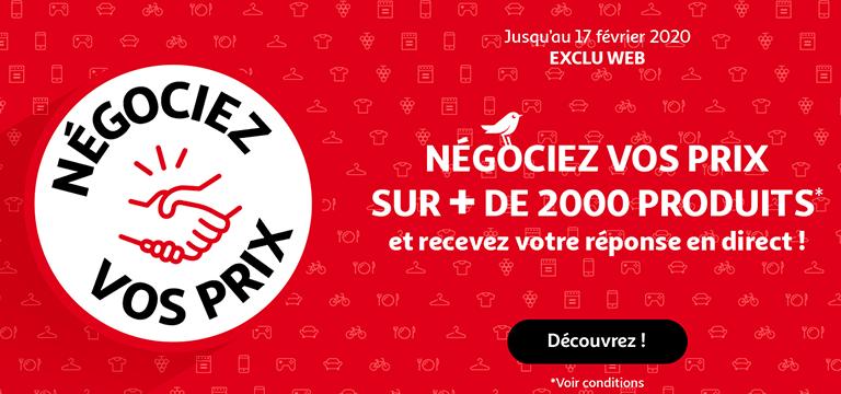 EXCLU WEB, jusqu'au 17 février 2020, négociez vos prix sur plus de 2000 produits et recevez votre réponse en direct !