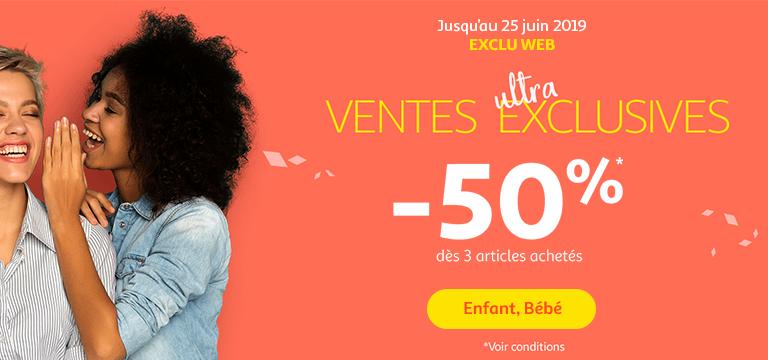 Jusqu'au 25 juin : Exclu web / ventes ultra exclusives. -50% dès 3 articles achetés