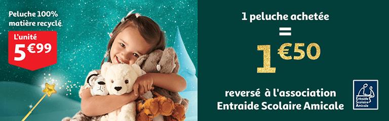 1 peluche achetée égale 1€50 revesé à l'association Entraide Solidaire Amicale