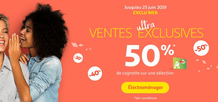 Jusqu'au 25 juin : Exclu web / ventes ultra exclusives. 50% de Cagnotte Waaoh