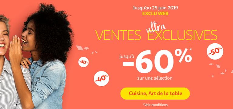 Jusqu'au 25 juin : Exclu web / ventes ultra exclusives. Jusqu'à -60% sur une sélection Cuisine et Art de la table