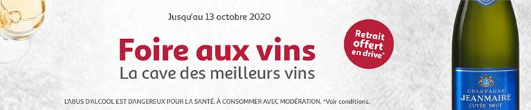 Foire aux vins, la cave des meilleurs vins, jusqu'au 6 octobre 2020, retrait offert en drive